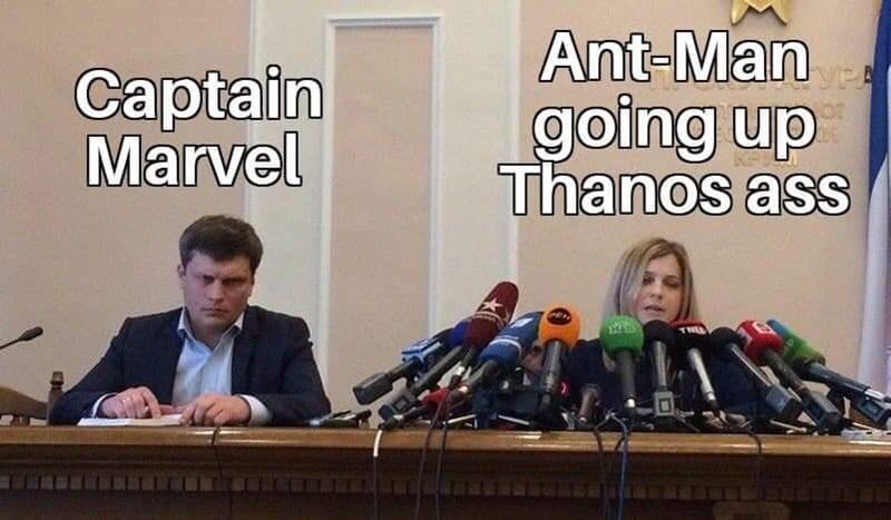 Spokesperson - Ant-Man Captain Marvel going up Thanos ass