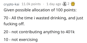 Text - crypto-kai 11.0k points 1 day ago 2 Given possible allocation of 100 points: 70-All the time i wasted drinking, and just fucking off. 20 not contributing anything to 401k 10 not exercising