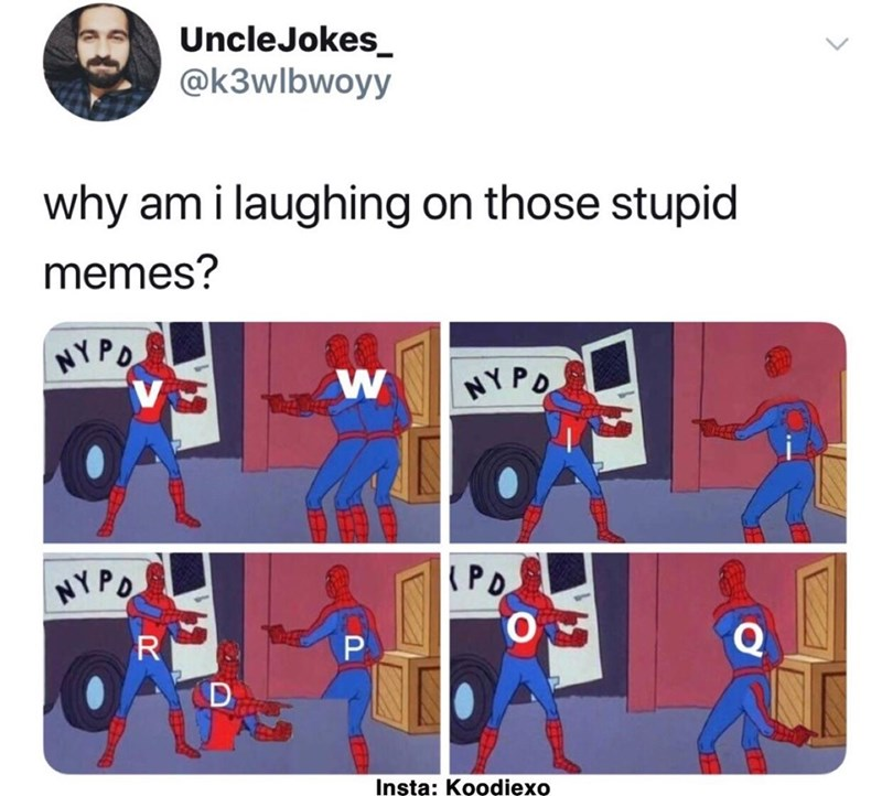 monday meme with Spider Man pointing at Spider Man as letters of the alphabet