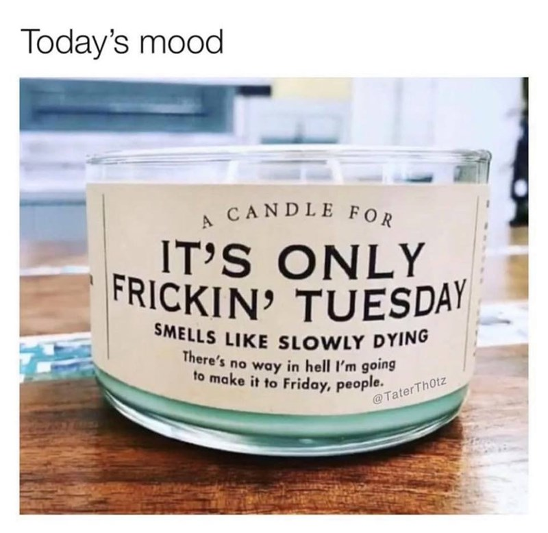monday meme of a candle that smells like death