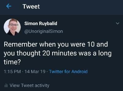 monday meme about sense of time when you're a kid