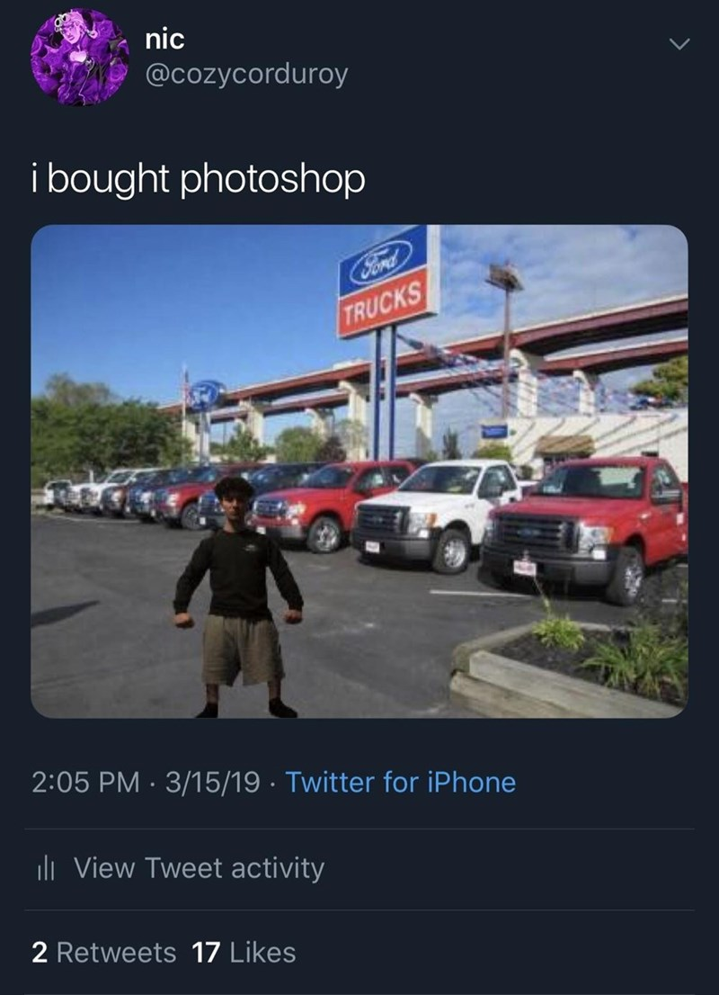 monday meme about using photoshop to insert yourself into truck pics