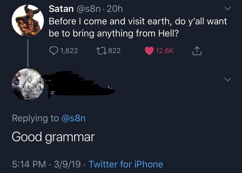 monday meme about satan bringing good grammar from hell