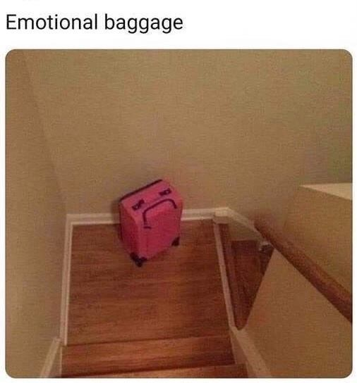 monday meme about emotional baggage with a pic of a suitcase with a sad face