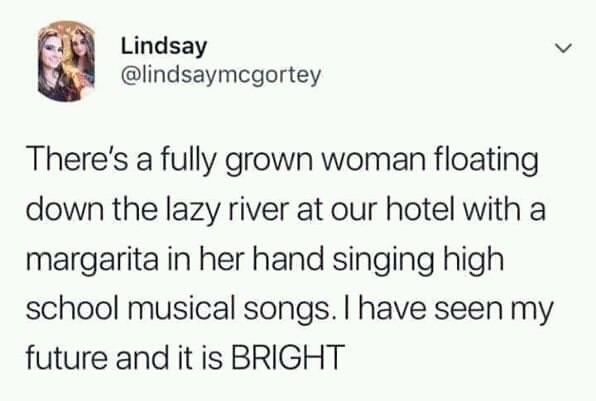 monday meme about seeing your future as a drunk woman singing out loud