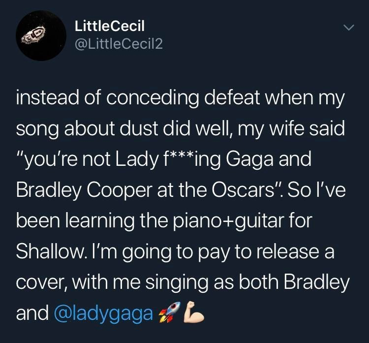 monday meme about performing as both Bradley Cooper and Lady Gaga at the Oscars