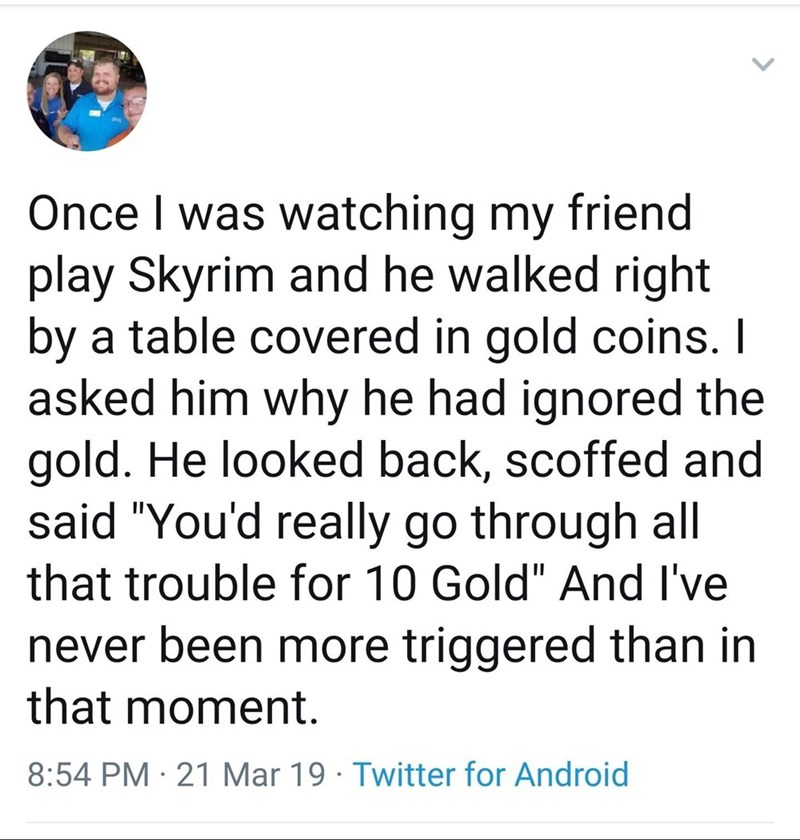 monday meme about people playing Skyrim lawfully