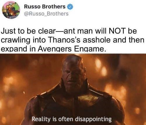 "Russo Brothers tweet that reads, ""Just to be clear - Ant Man will NOT be crawling into Thanos's asshole and then expand in Avengers Endgame"" above a still of Thanos saying, ""Reality is often disappointing"""