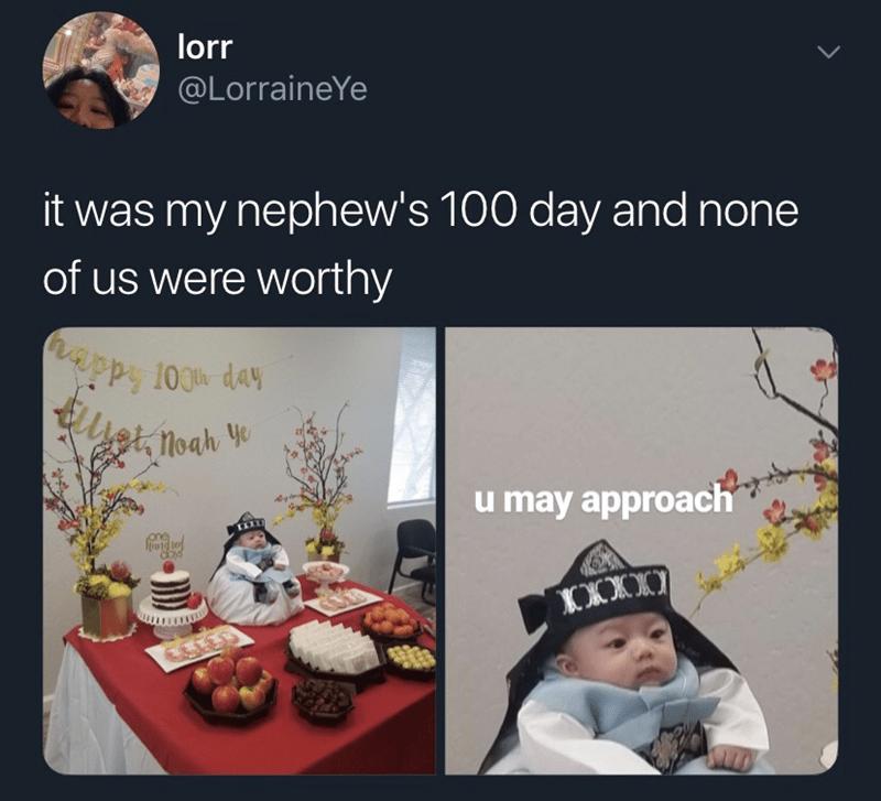 meme - Text - lorr @LorraineYe it was my nephew's 100 day and none of us were worthy uppy 100t day Elet Moar ye u may approach OXXX