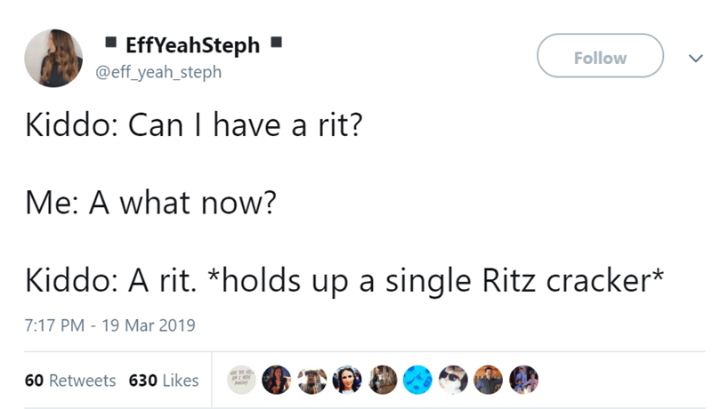 Text - EffYeahSteph @eff_yeah_steph Follow Kiddo: Can I have a rit? Me: A what now? Kiddo: A rit. *holds up a single Ritz cracker* 7:17 PM 19 Mar 2019 60 Retweets 630 Likes