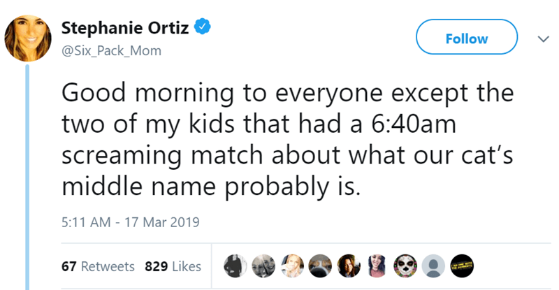 Text - Stephanie Ortiz Follow @Six_Pack_Mom Good morning to everyone except the two of my kids that had a 6:40am screaming match about what our cat's middle name probably is. 5:11 AM - 17 Mar 2019 67 Retweets 829 Likes