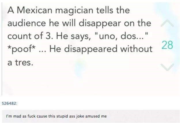 "Text - A Mexican magician tells the audience he will disappear on the count of 3. He says, ""uno, dos..."" *poof. He disappeared without 28 a tres. 526482: I'm mad as fuck cause this stupid ass joke amused me"