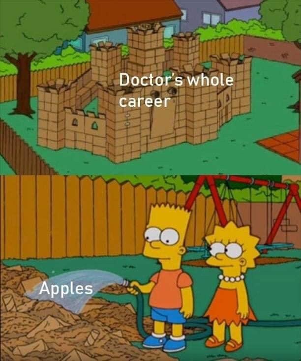 Cartoon - Doctor's whole career Apples