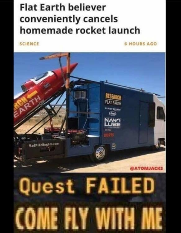 fallout meme about failing to launch a rocket to prove flat earth theory
