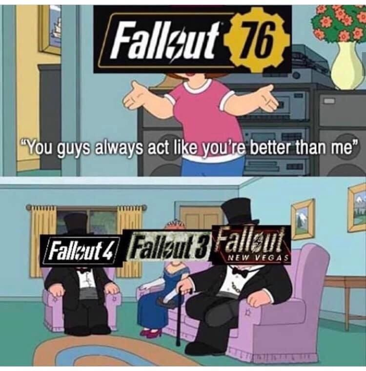 fallout meme about fallout76 being the worst game in the series