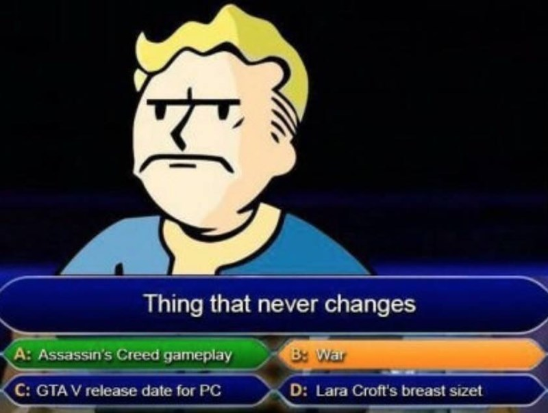 """fallout meme with Vault Boy losing at """"who wants to be a millionaire"""""""