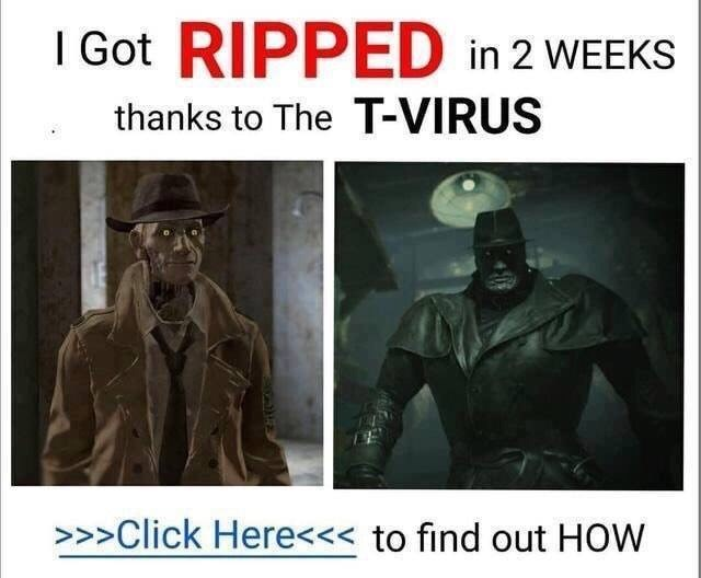 fallout meme with clickbait ad about t-virus