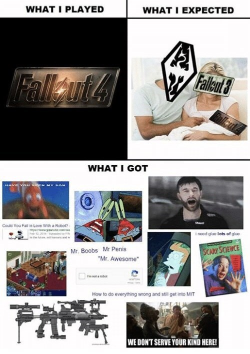 fallout meme about expectations vs reality regarding fallout 4