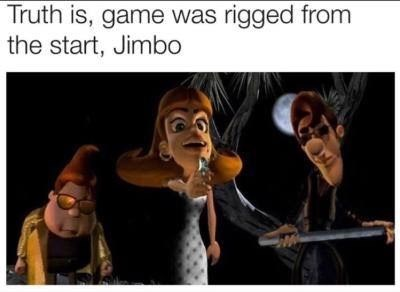 """fallout meme about """"the game was rigged from the start"""" line with Jimmy Neutron characters"""