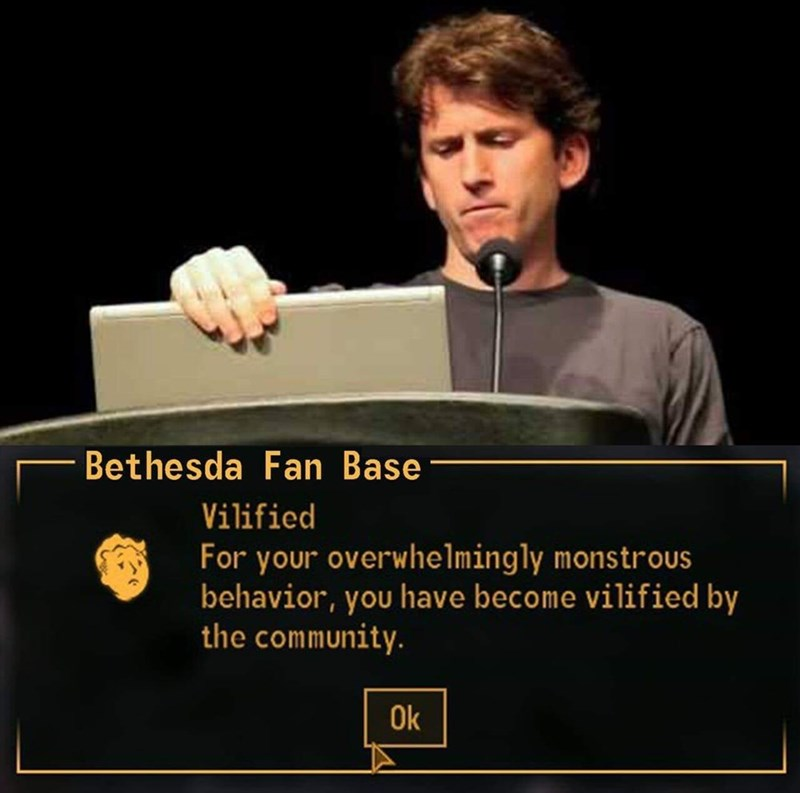 fallout meme about Bethseda getting villainy reputation