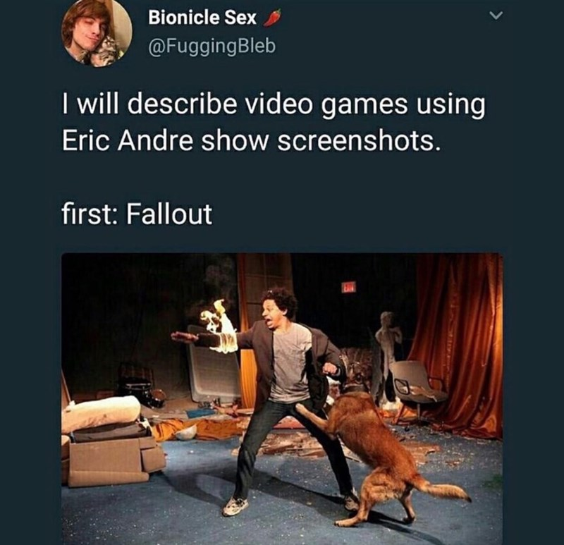 fallout meme about the game as Eric Andre getting bitten by a dog while on fire