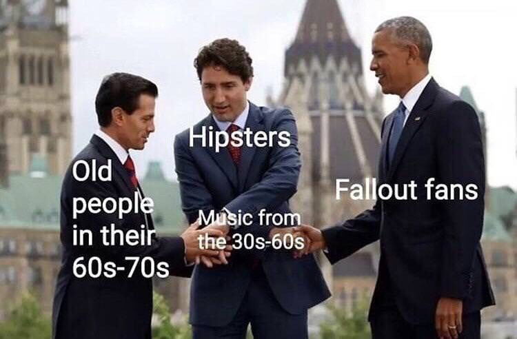 fallout meme about old people, gamers and hipsters sharing taste in music