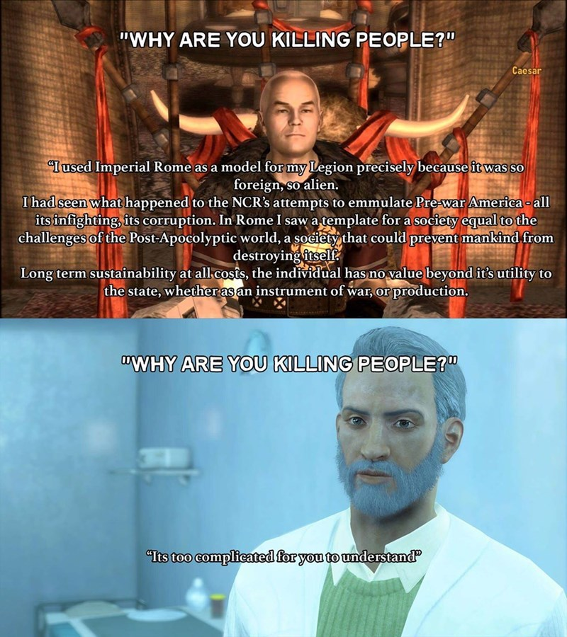fallout meme about villains reasons for killing people