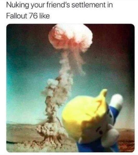 fallout meme with vauly boy dabbing in front of a mushroom cloud