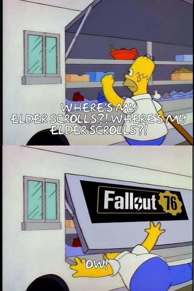 fallout meme about Homer Simpson demanding Elder Scrolls but getting Fallout 76