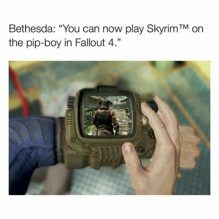fallout meme about playing Skyrim inside the game
