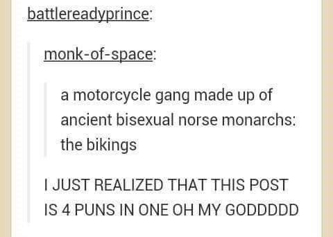 a motorcycle gang made up of ancient bisexual norse monarchs: the bikings I JUST REALIZED THAT THIS POST IS 4 PUNS IN ONE OH MY GODDDDD