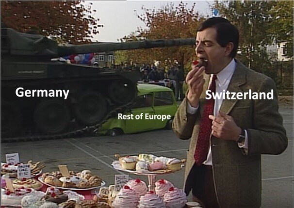 meme about Switzerland staying neutral during WWII with pic of Mr Bean eating a cupcake next to an army tank