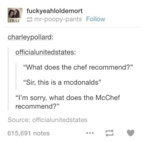 Tumblr thread calling a cook at McDonald's the McChef