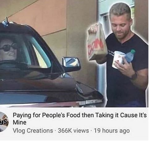 youtube challenge about buying people food at drive throughs then taking it