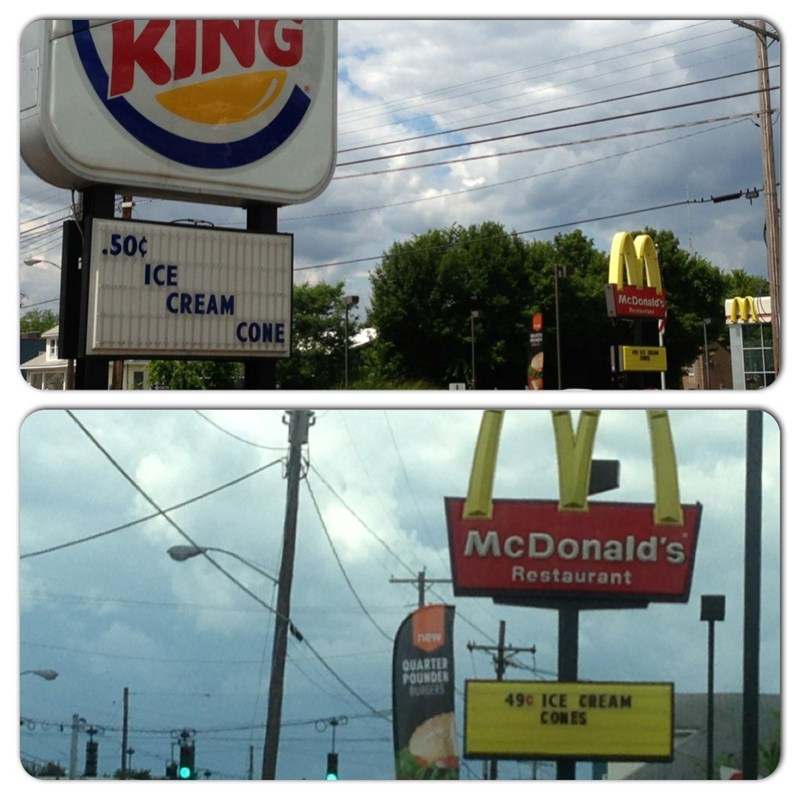 meme about Burger King and McDonald's having a price contest for ice cream