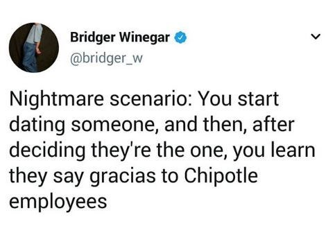 tweet about dating someone who talks in Spanish to employees at Chipotle