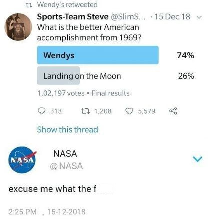 tweet about Wendys having a bigger part in US history than the moon landing