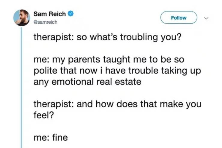 Text - Sam Reich Follow @samrelch therapist: so what's troubling you? me: my parents taught me to be so polite that now i have trouble taking up any emotional real estate therapist: and how does that make you feel? me: fine