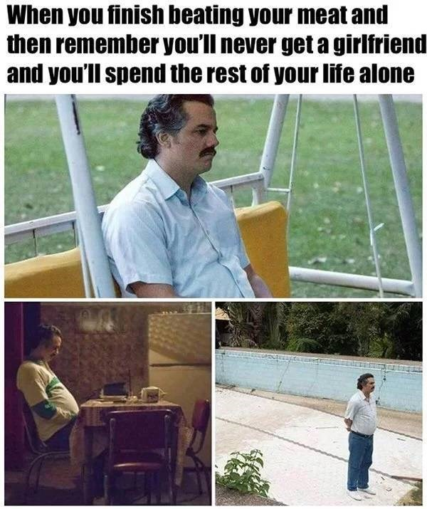 Adaptation - When you finish beating your meat and then remember you'll never get a girlfriend and you'll spend the rest of your life alone