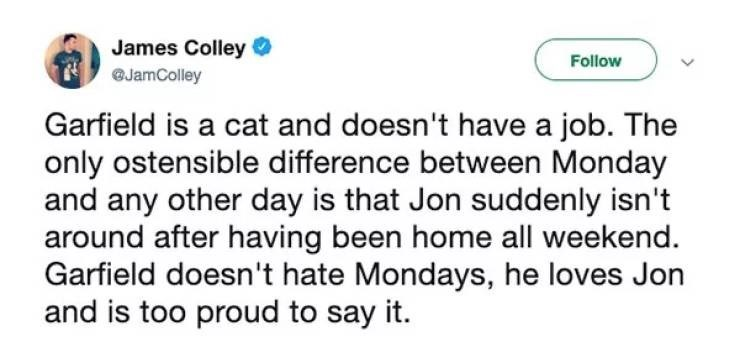 Text - James Colley O Follow @JamColley Garfield is a cat and doesn't have a job. The only ostensible difference between Monday and any other day is that Jon suddenly isn't around after having been home all weekend. Garfield doesn't hate Mondays, he loves Jon and is too proud to say it.
