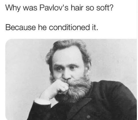 "Caption that reads, ""Why was Pavlov's hair so soft? Because he conditioned it"" above a pic of Ivan Pavlov"