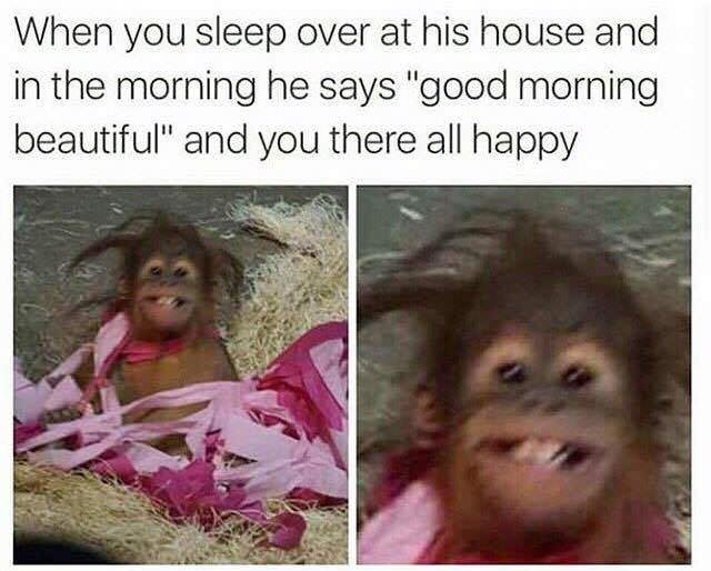 "Facial expression - When you sleep over at his house and in the morning he says ""good morning beautiful"" and you there all happy"