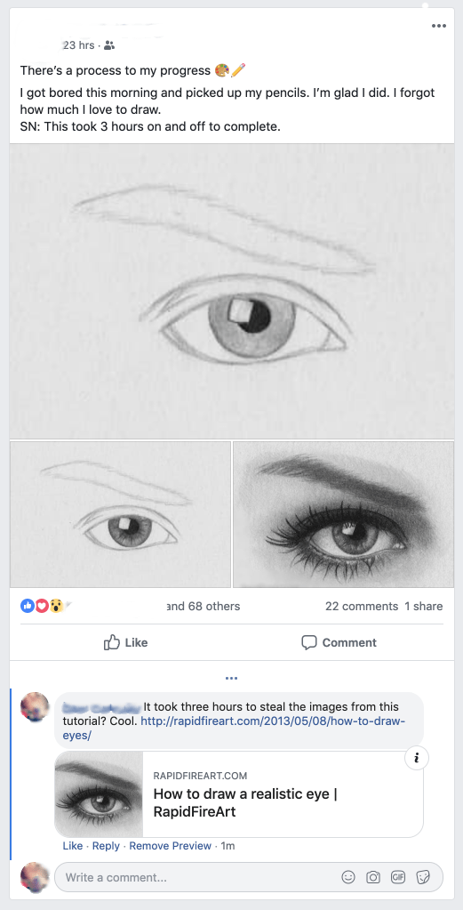 Liar pretending to be an artist called out for stealing someone elses artwork of an eye