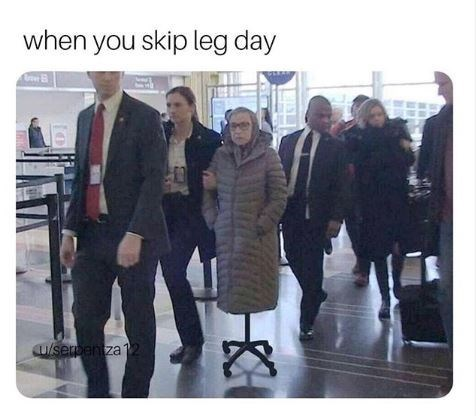 meme about skipping leg day with pic of grandma getting wheeled on an office chair
