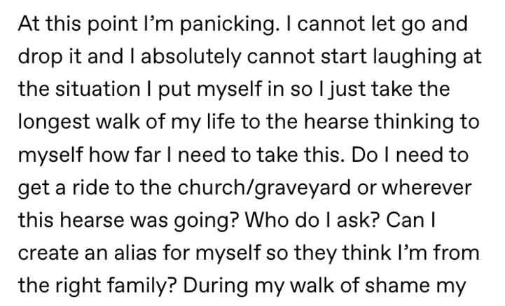 text from reddit about carrying the wrong body out of the funeral home