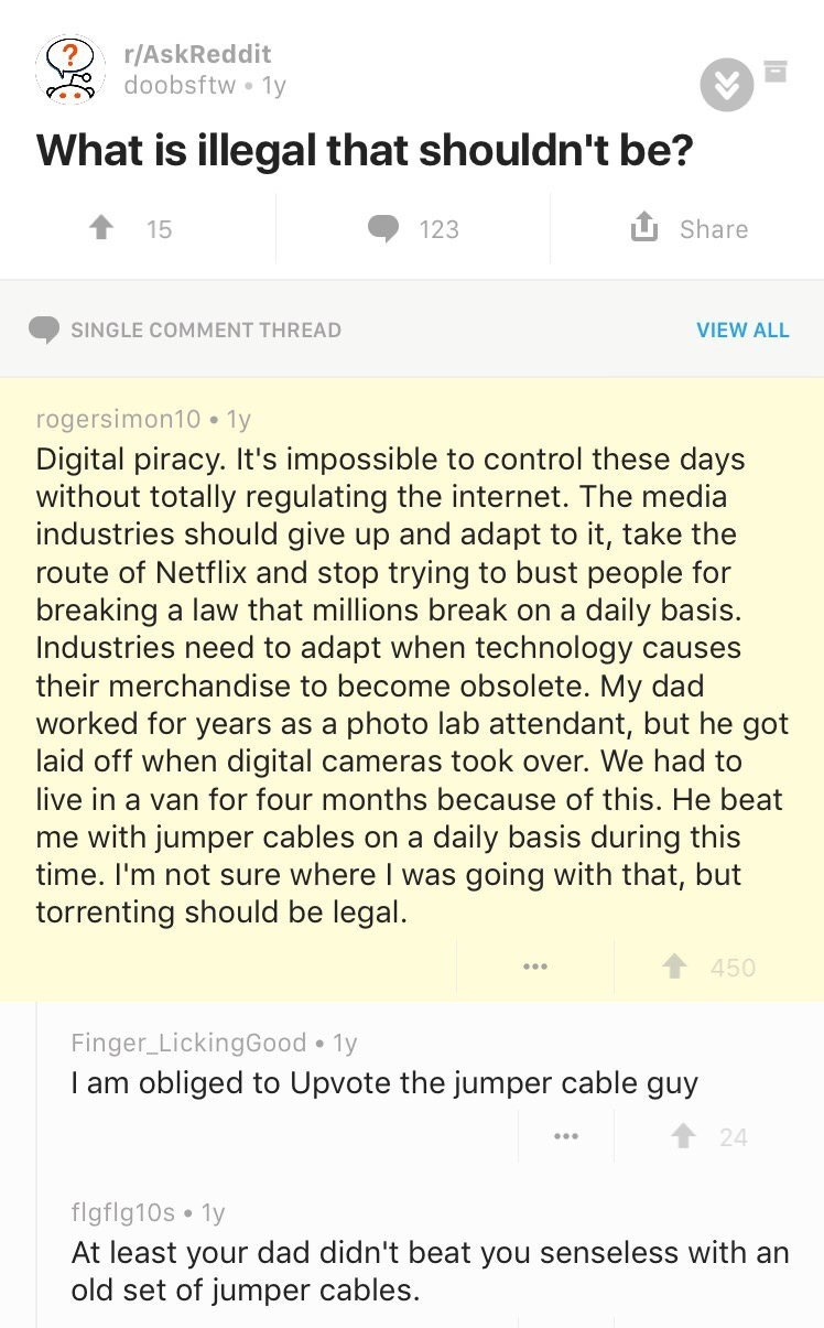 Text - r/AskReddit doobsftw 1y What is illegal that shouldn't be? 1Share 15 123 SINGLE COMMENT THREAD VIEW ALL rogersimon10 1y Digital piracy. It's impossible to control these days without totally regulating the internet. The media industries should give up and adapt to it, take the route of Netflix and stop trying to bust people for breaking a law that millions break on a Industries need to adapt when technology causes their merchandise to become obsolete. My dad worked for years as a laid off