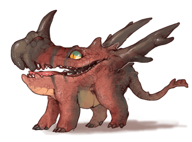 A Tumblr image of a red dragon with spikes on its back and nose.