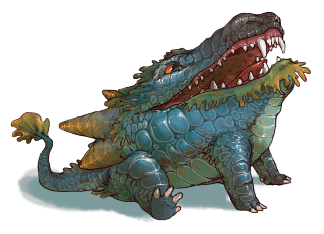 A Tumblr image of a blue and green dragon with its mouth open, showing tons of tiny scary teeth.