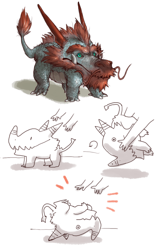A Tumblr image of a dragon with a red beard, tail, and bright aquamarine eyes.