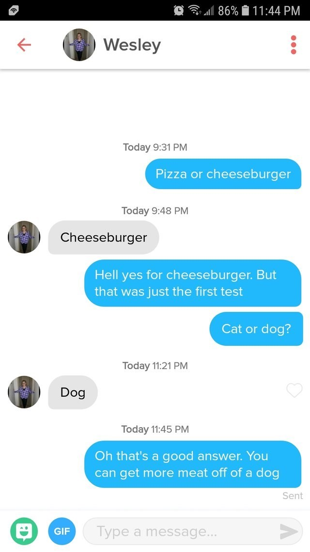 tinder messages Pizza or cheeseburger Today 9:48 PM Cheeseburger Hell yes for cheeseburger. But that was just the first test Cat or dog? Today 11:21 PM Dog Today 11:45 PM Oh that's a good answer. You more meat off of a dog get can Sent Type a message... GIF